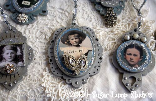 Fancy Jeweled Cameo Ornaments - Project #1 from A Very Vintage Christmas - 7 days of free online projects/tutorials...visit my website sugarlumpstudios.com