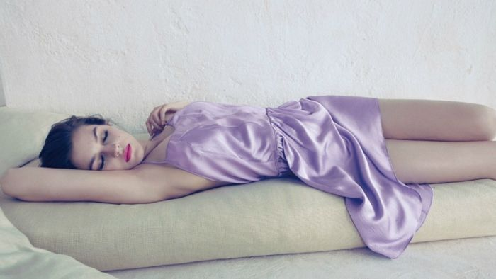 lounging in lilac satin
