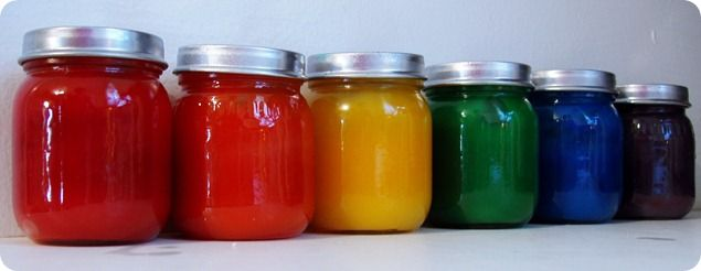 homemade finger paints stored in baby food jars. perfection.