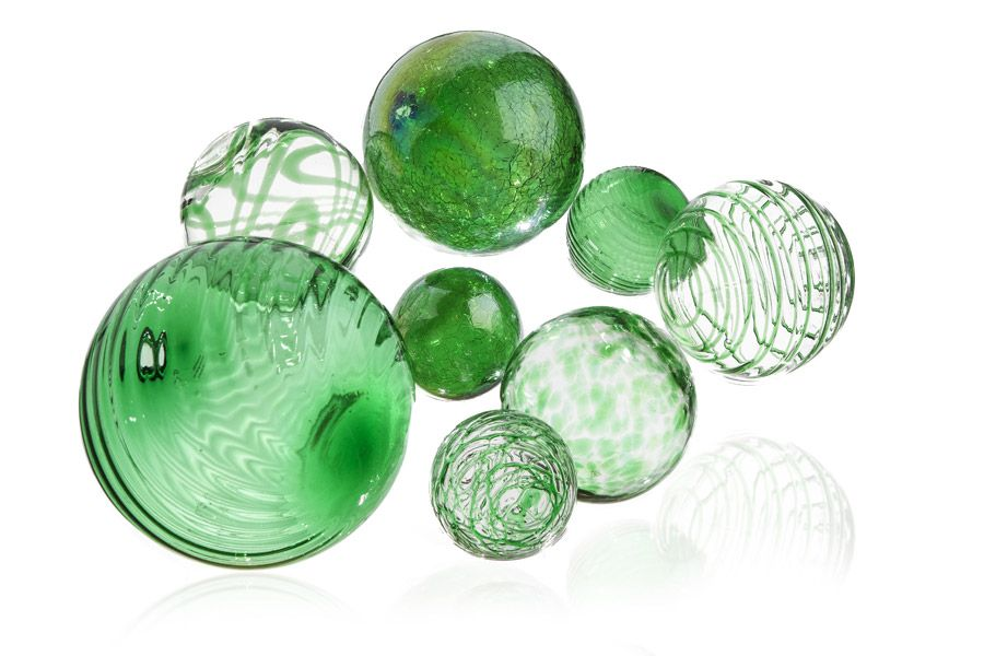 Emerald Mini Mix Glass Orbs by Worldly Goods