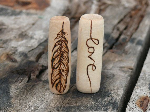 Love and freedom  2 wooden dread beads set  by HeadstrongHippie