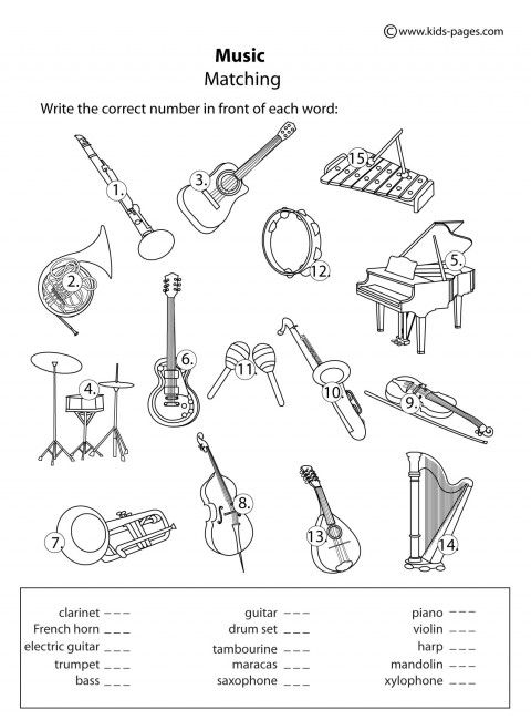 Instruments - Matching B&W worksheets | projects with my