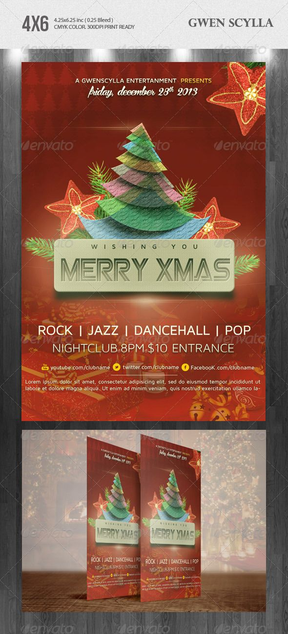 Merry Xmas Nightclub Psd Flyer Template Psd Flyer Templates Flyer