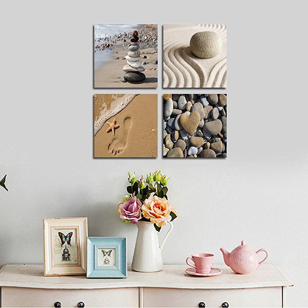 Amazon Com Wieco Art Romantic Beach Theme 4 Panels Modern