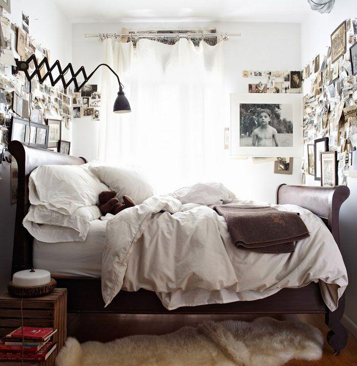 Dreamy rustic bedroom, industrial lighting, photo wall, vintage ...