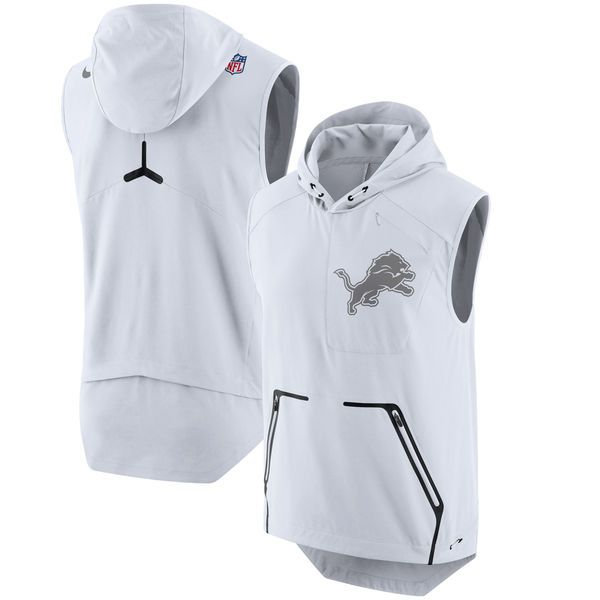 Nike Detroit Lions White Color Rush Alpha Fly Hooded Performance Vest