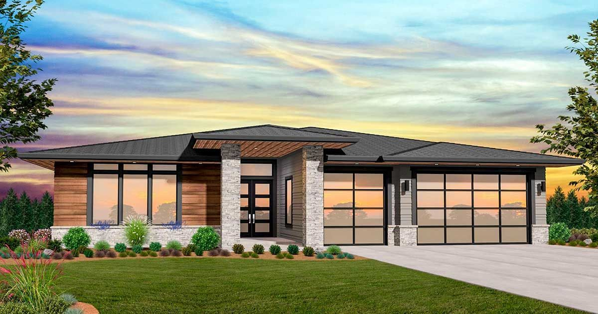 This Stunning One Story Modern Prairie House Plan Exclusive To Architectural Designs Is Full Of Modern Prairie Home Prairie Style Houses Modern House Plans
