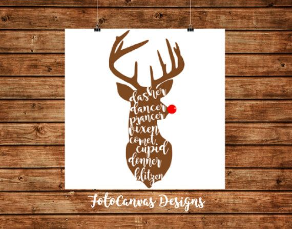 Reindeer Lettering SVG File Silhouette Cameo by FotoCanvasDesigns