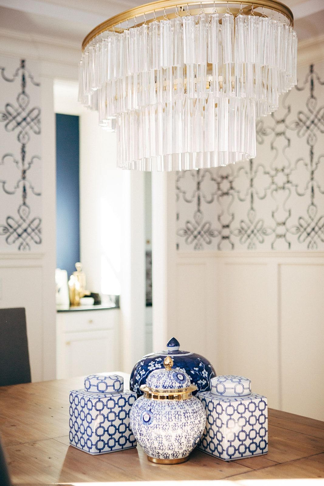 Navy blue and white modern rustic dining room Rustic