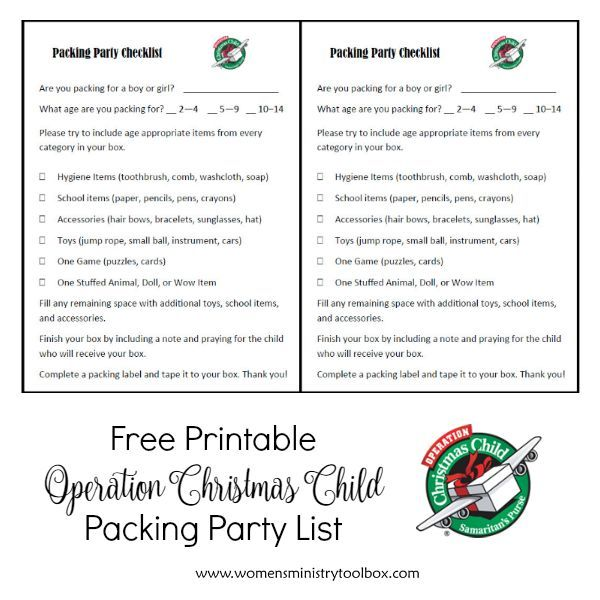 Operation Christmas Child Printables.How To Host An Operation Christmas Child Packing Party Occ