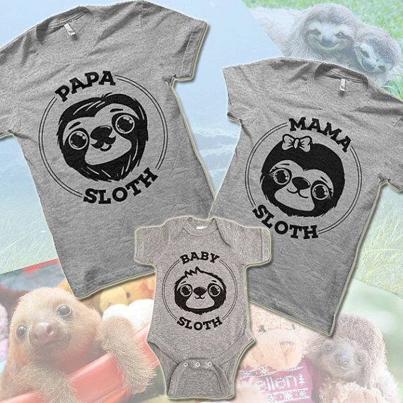 f1a2616c538e Mama Sloth. Papa Sloth. Baby Sloth Matching Shirts. Daddy Mommy Mom ...
