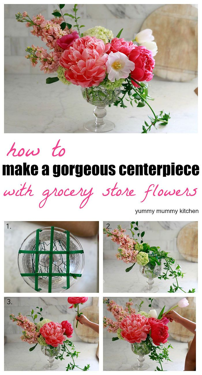 Floral centerpiece recipe nourish yummymummykitchen how to make a beautiful floral arrangement with grocery store flowers izmirmasajfo