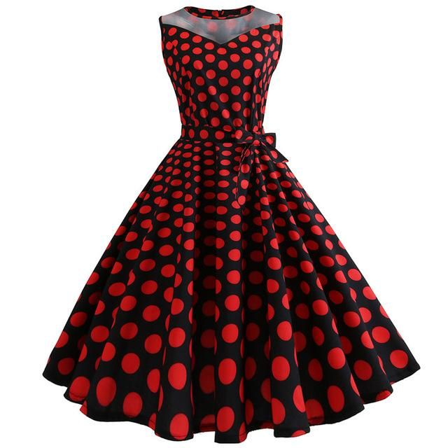 Lace Patchwork Summer Dress Women 2018 Casual Elegant Sleeveless Polka Dot Party  Dresses Retro Swing Vintage Sundress Plus Size 89b71552ced2