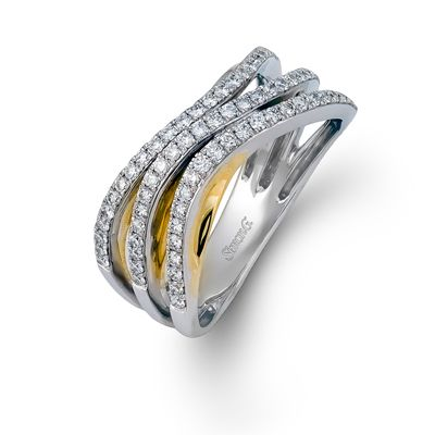 Anniversary Collection  This fabulous 18K white and yellow ring is comprised of .44ctw round white Diamonds.  MR2002