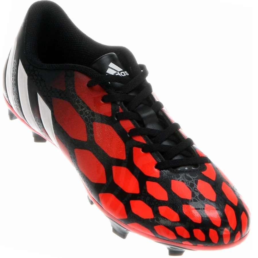 b2d223a30 Chuteira Adidas Predito Instinct FG Campo Masculina Vermelha   Preta ...