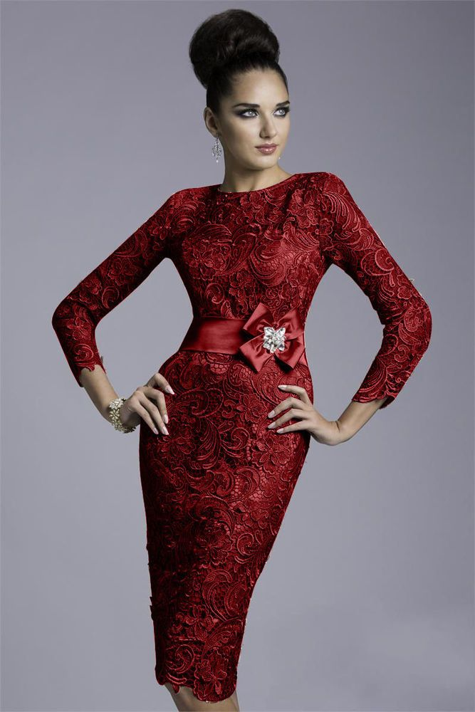61374c4bfdda0 Burgundy Knee Length Mother Of The Bride Dress Vintage Lace Outfits ...