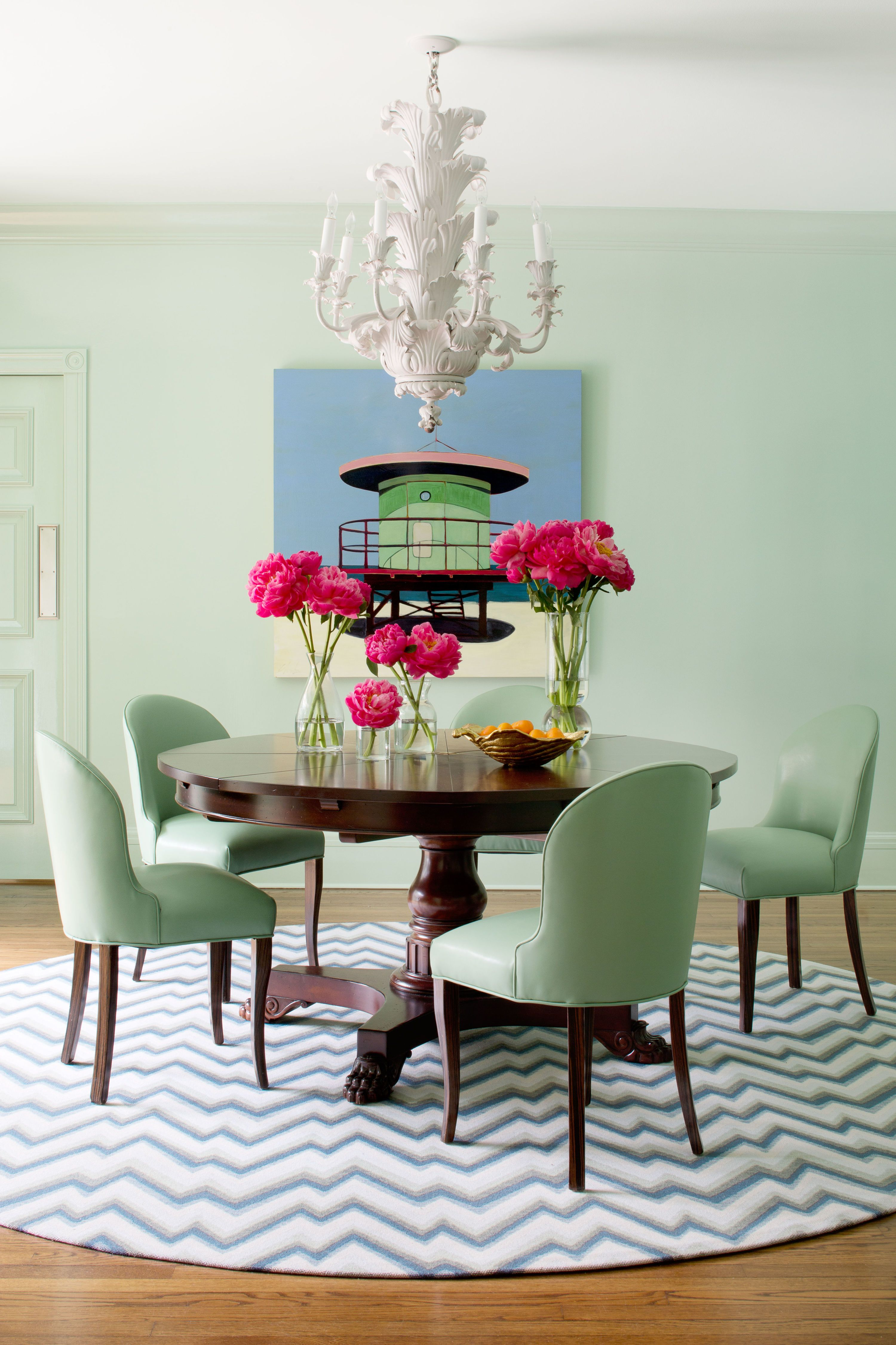 Who Says Mint Green Can T Work As A Neutral This Palm Beach Dining Room Is Dressed In The So Dining Room Paint Inspiration Green Dining Room Dining Room Paint Mint green dining chairs