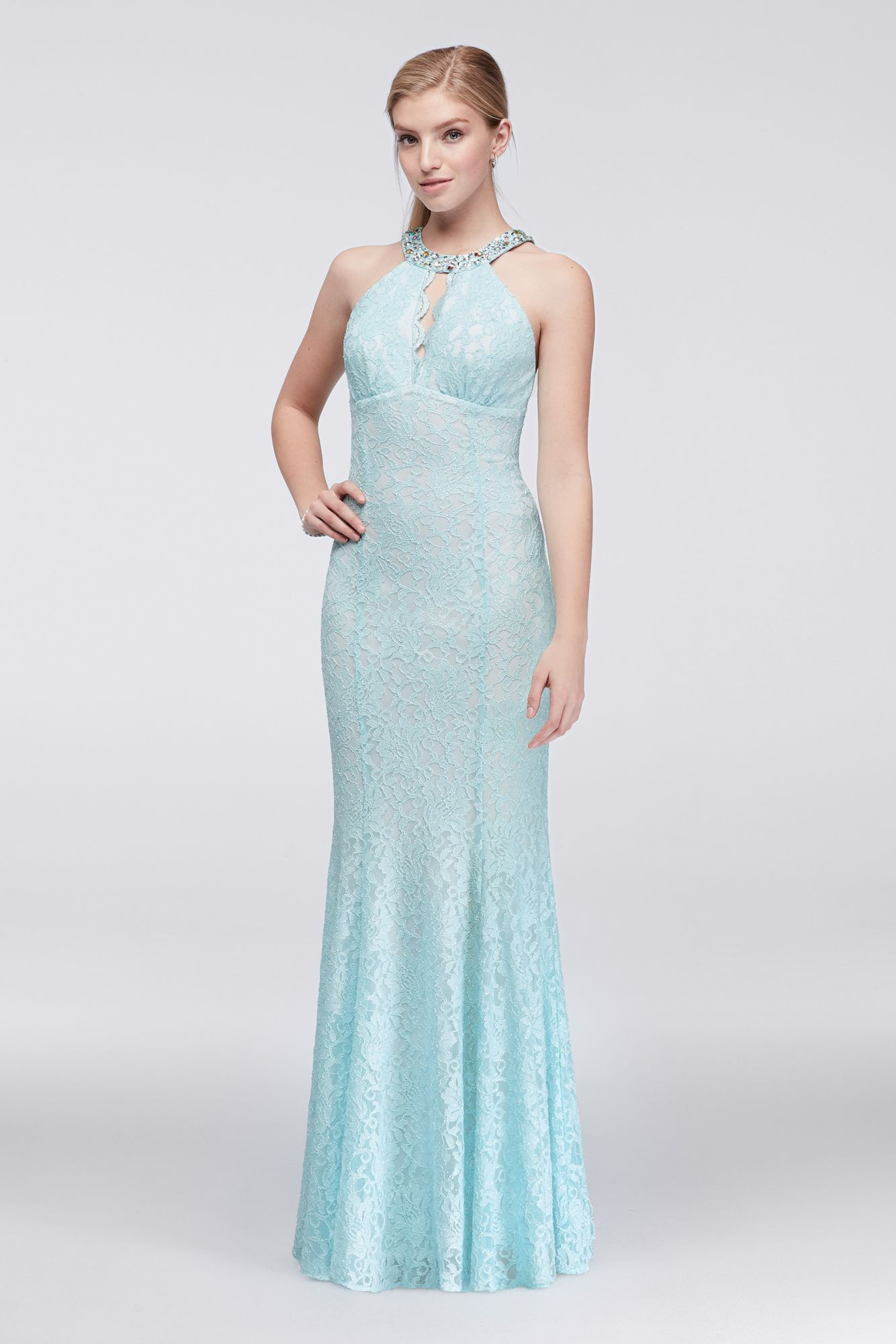 Beaded keyhole halter neck long all over lace prom dress style