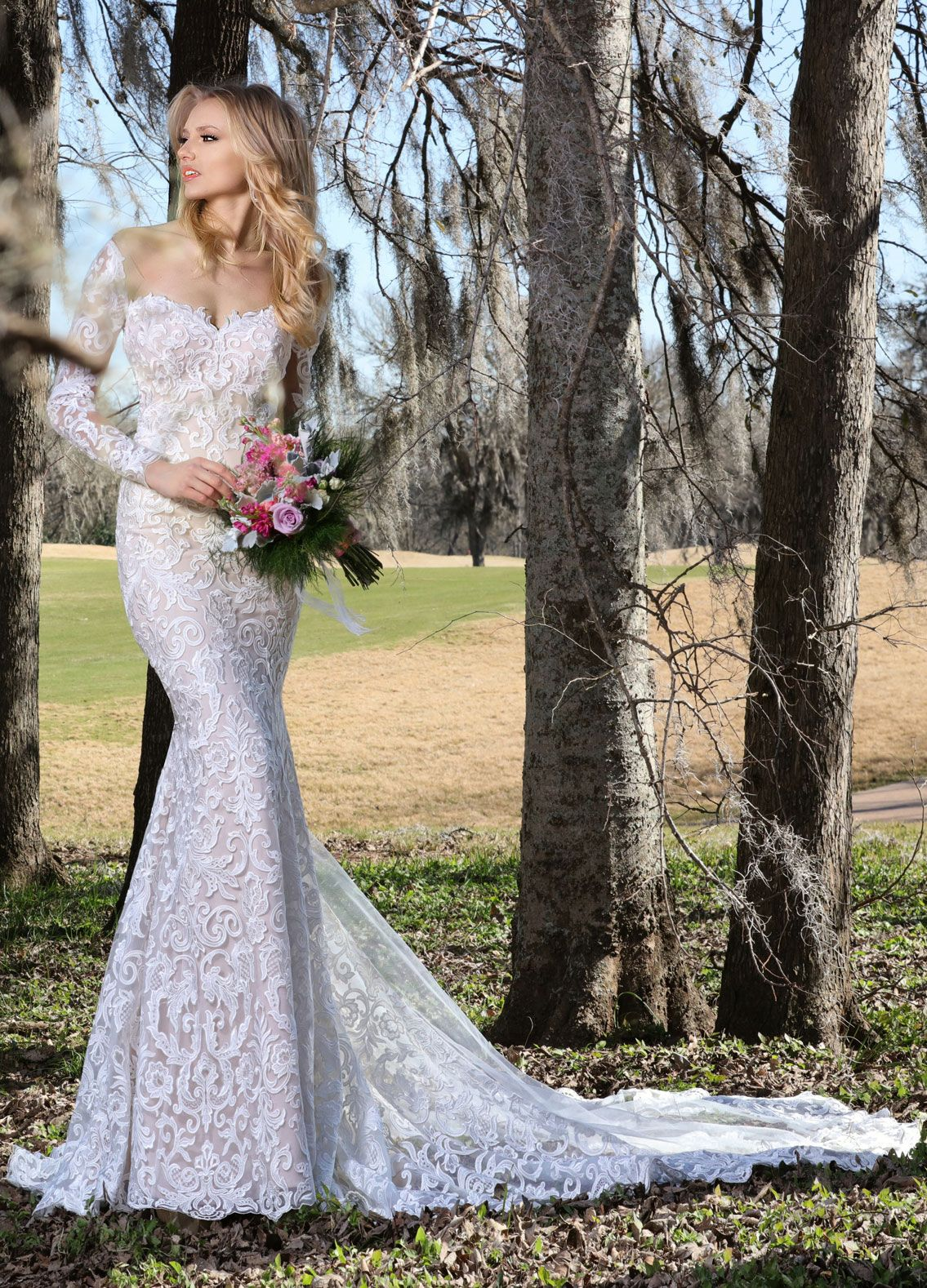 Long sleeve floral lace with sweetheart neckline and fit and flare