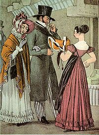 Shopping in Paris, 1822: The woman wears a demure bonnet, a shawl, and gloves over her dress. The man wears a top hat, long coat, tall collar, and striped trousers with straps under his shoes. 1822.