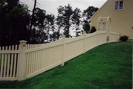 Racking Picket Fence On Slope With Images Sloped Yard Front