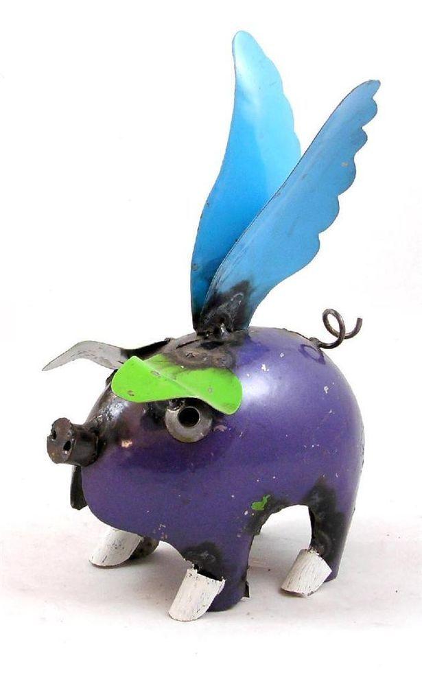 Recycled Metal Yard Garden Folk Art 10 Mini Flying Pig Sculpture Mi206 5