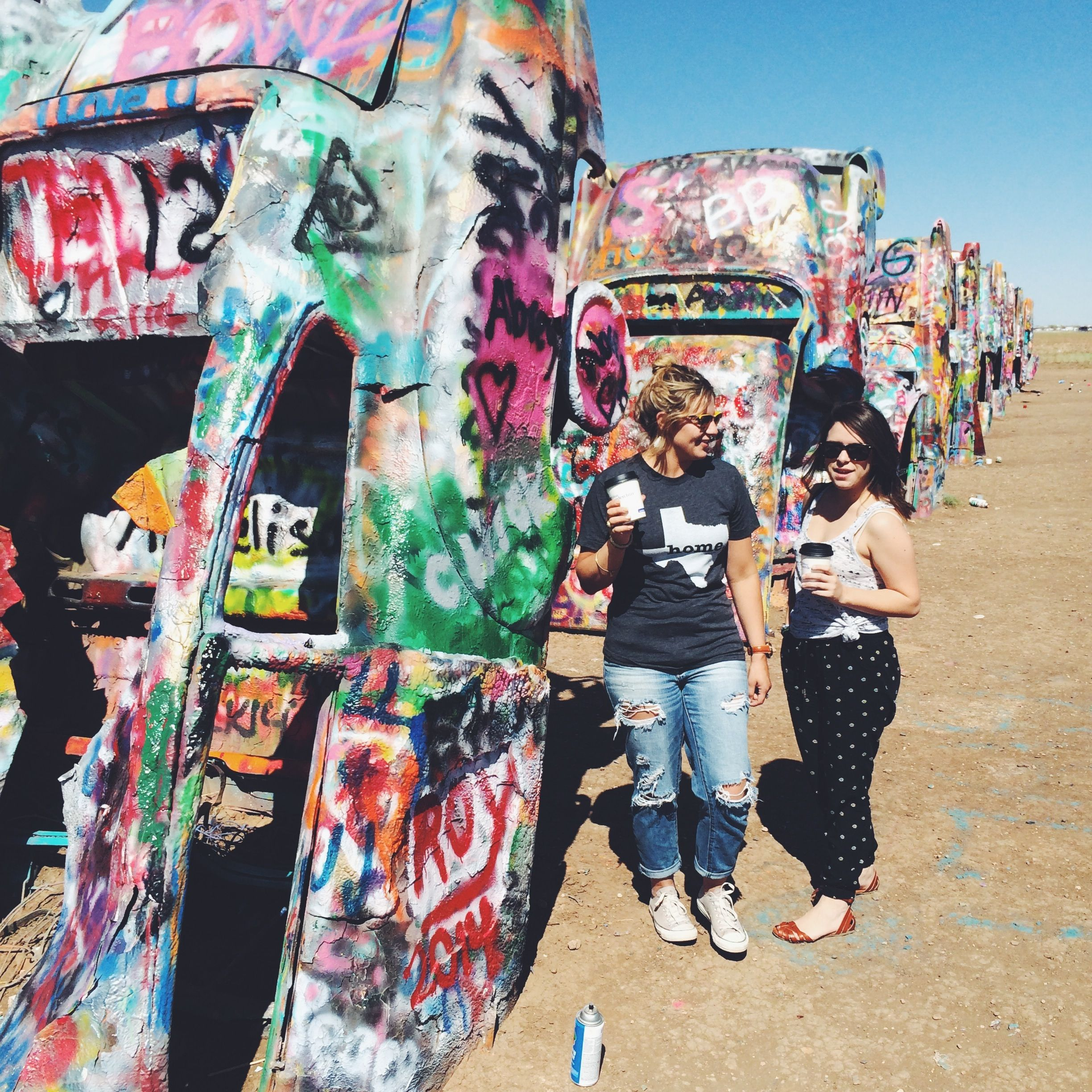 Wearing #HomeTee and hanging out at the Cadillac Ranch outside of Claude, Texas