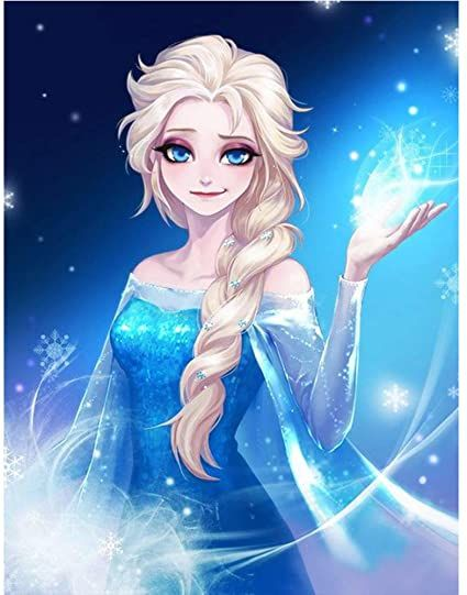 Betionol 5D Diamond Painting Kits for Adults, 12 x 16 inch DIY Full Drill Round Diamond Art Picture with The Theme of Lovely Princess Elsa, Good for Family Activity