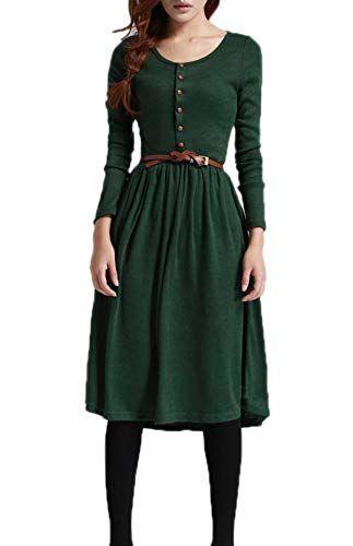 Frühling und Herbst Damen Mode Plissee Midi Kleider ...