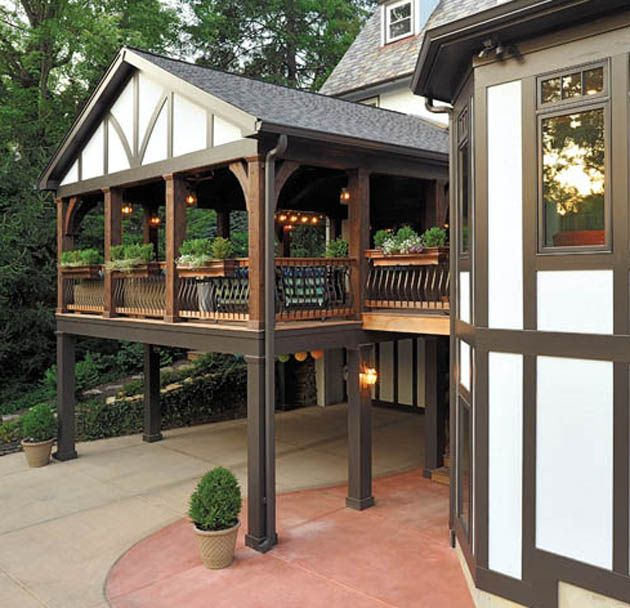 Deck design rules the back yard tudor style porch and for Back patio porch designs