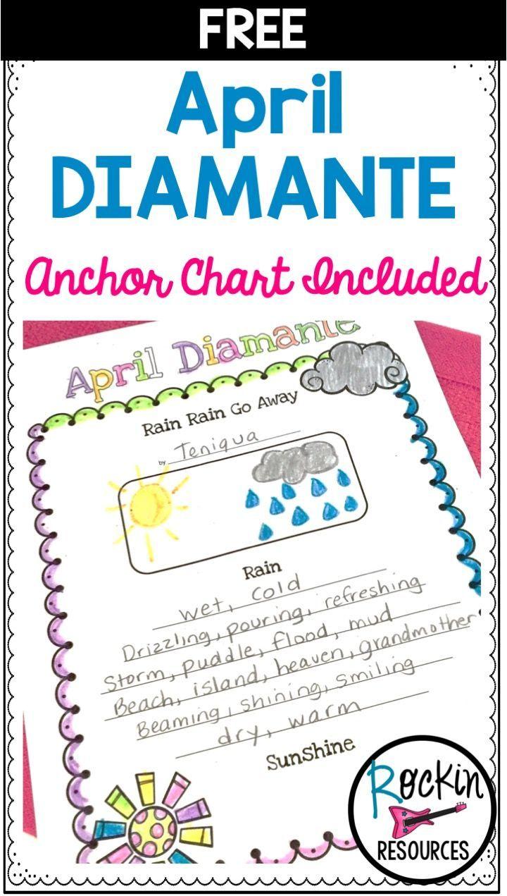 April Poem Free Diamante Middle School Writing Spring Teaching