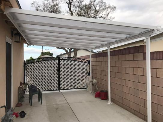 Palram Feria 10 Ft X 14 Ft White Patio Cover Awning 702721 The Home Depot In 2020 Patio Shade Carport Designs Covered Patio