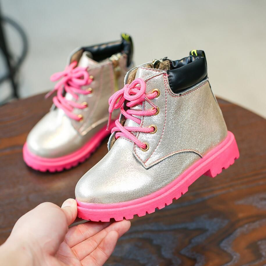 Autumn Winter Fashion British Lace-up Kids Girls Boots PU Leather Children  Soft Shoes for bd475900b260