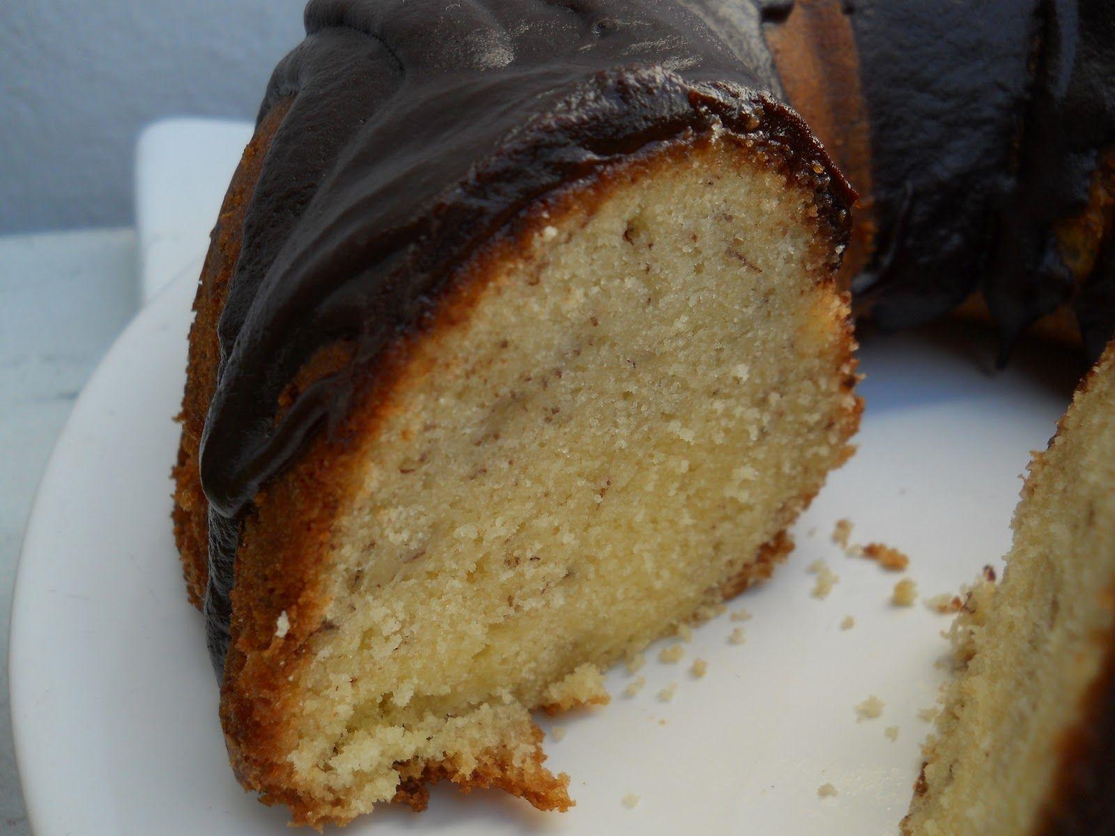 Banana bundt cake with bourbon chocolate glaze banana