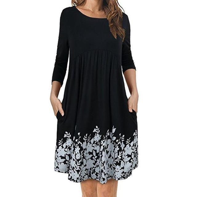 4a759bf765847 New Arrivals 2018 Spring Atumn Women's T Shirt Dress Pockets Long ...