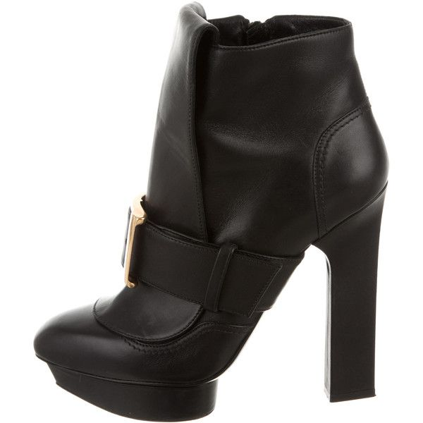 Pre-owned Alexander McQueen Platform Ankle Booties ($295) ❤ liked on Polyvore featuring shoes, boots, ankle booties, black, black platform booties, black ankle booties, black booties, black leather ankle booties and buckle booties