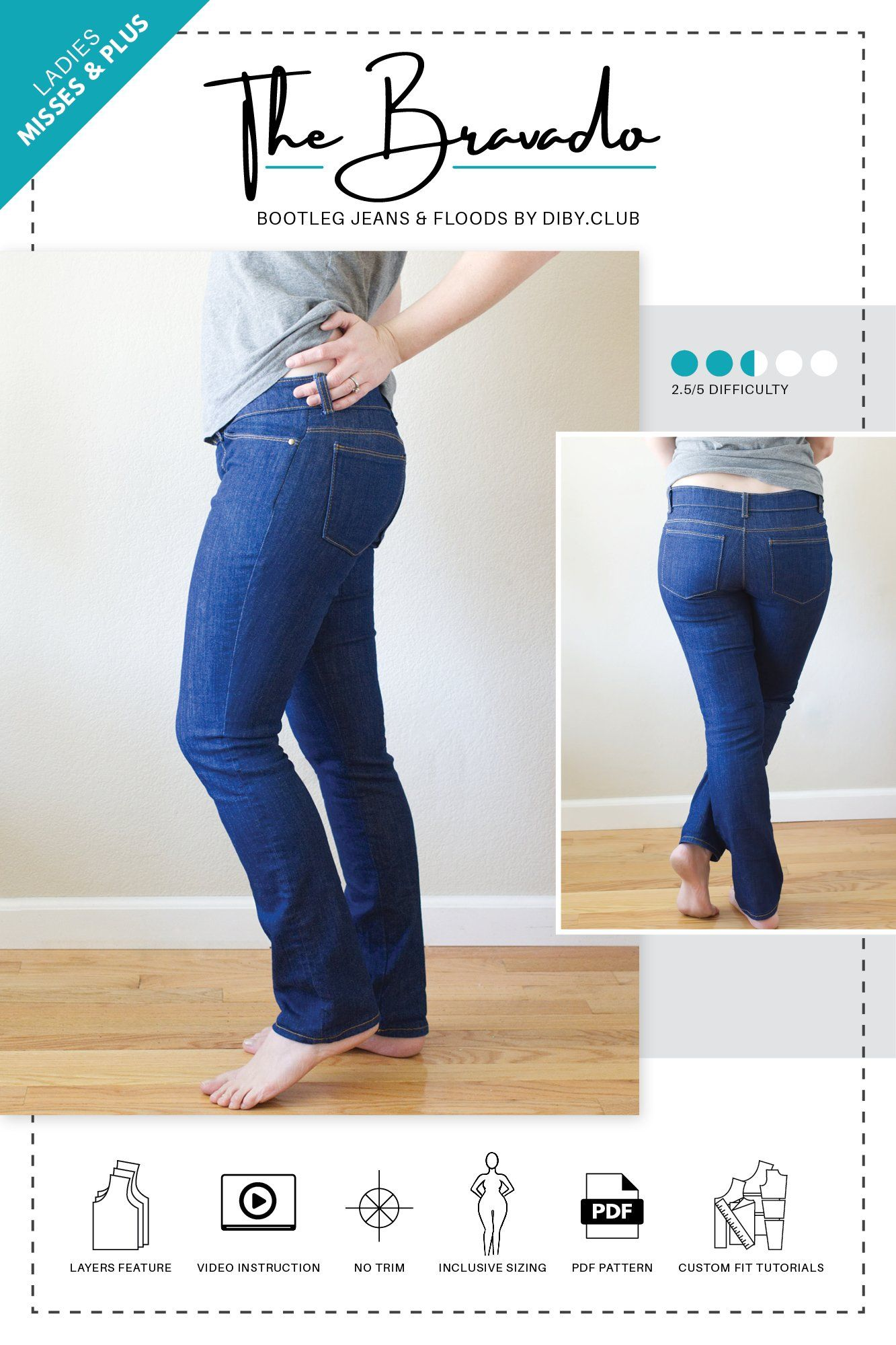 The Bravado Bootleg and Flood Jeans PDF Sewing Pattern | New Look ...