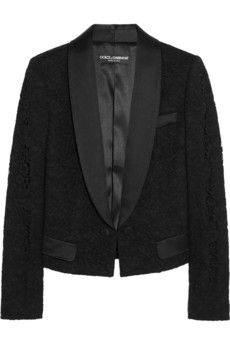 Dolce & Gabbana Cropped lace tuxedo jacket | NET-A-PORTER
