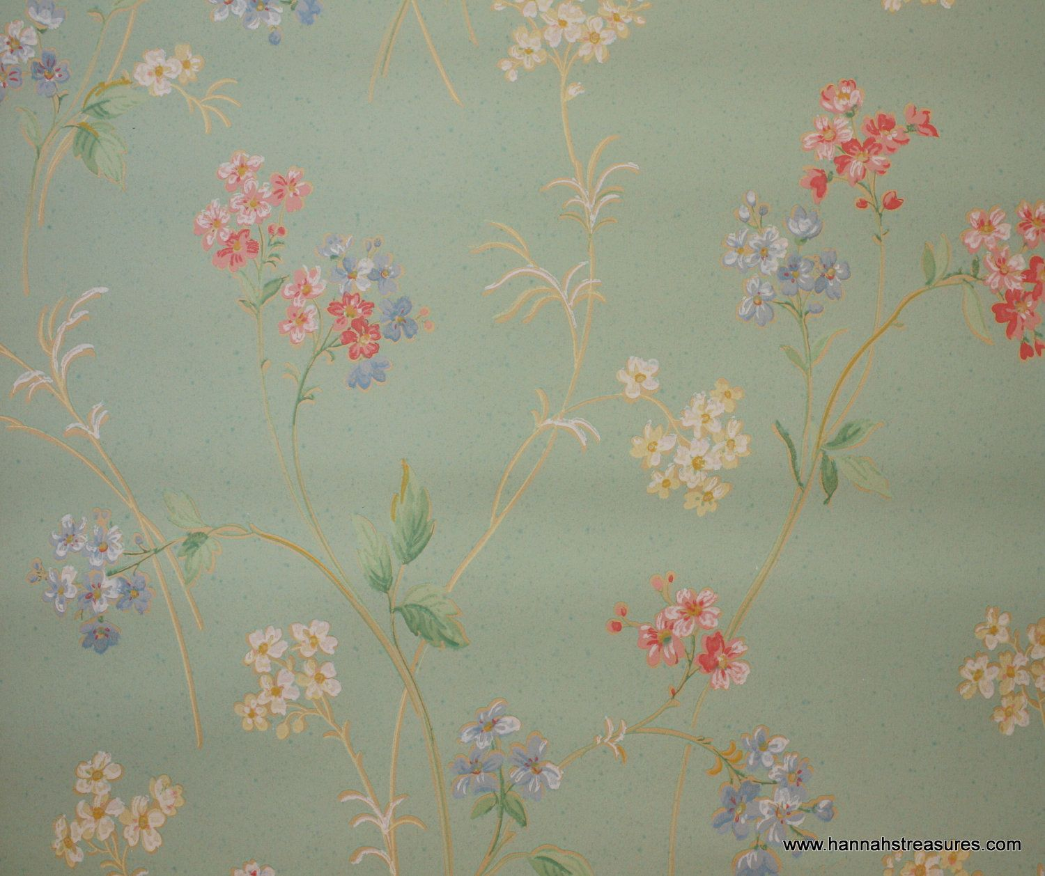 Muted Blue And Floral Red: 1930's Vintage Wallpaper Pretty Pastel Wispy Pink Blue And