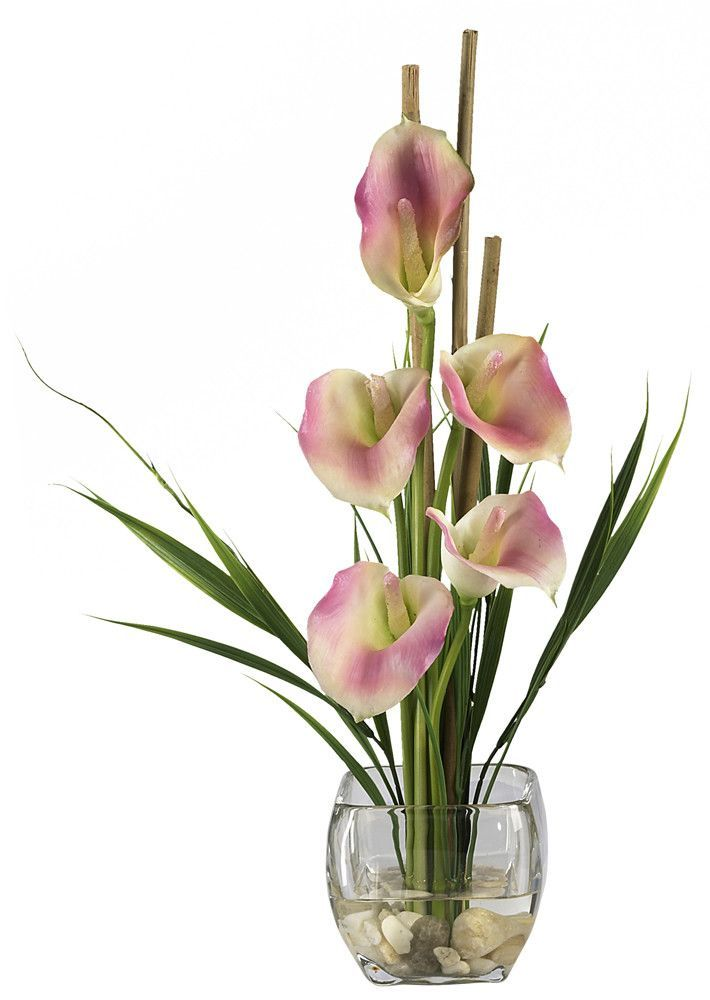 Liquid Illusion Silk Calla Lily With Vase Flower Arrangements
