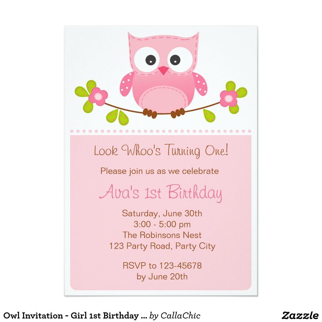 Owl Invitation - Girl 1st Birthday / Baby Shower   Owl invitations ...