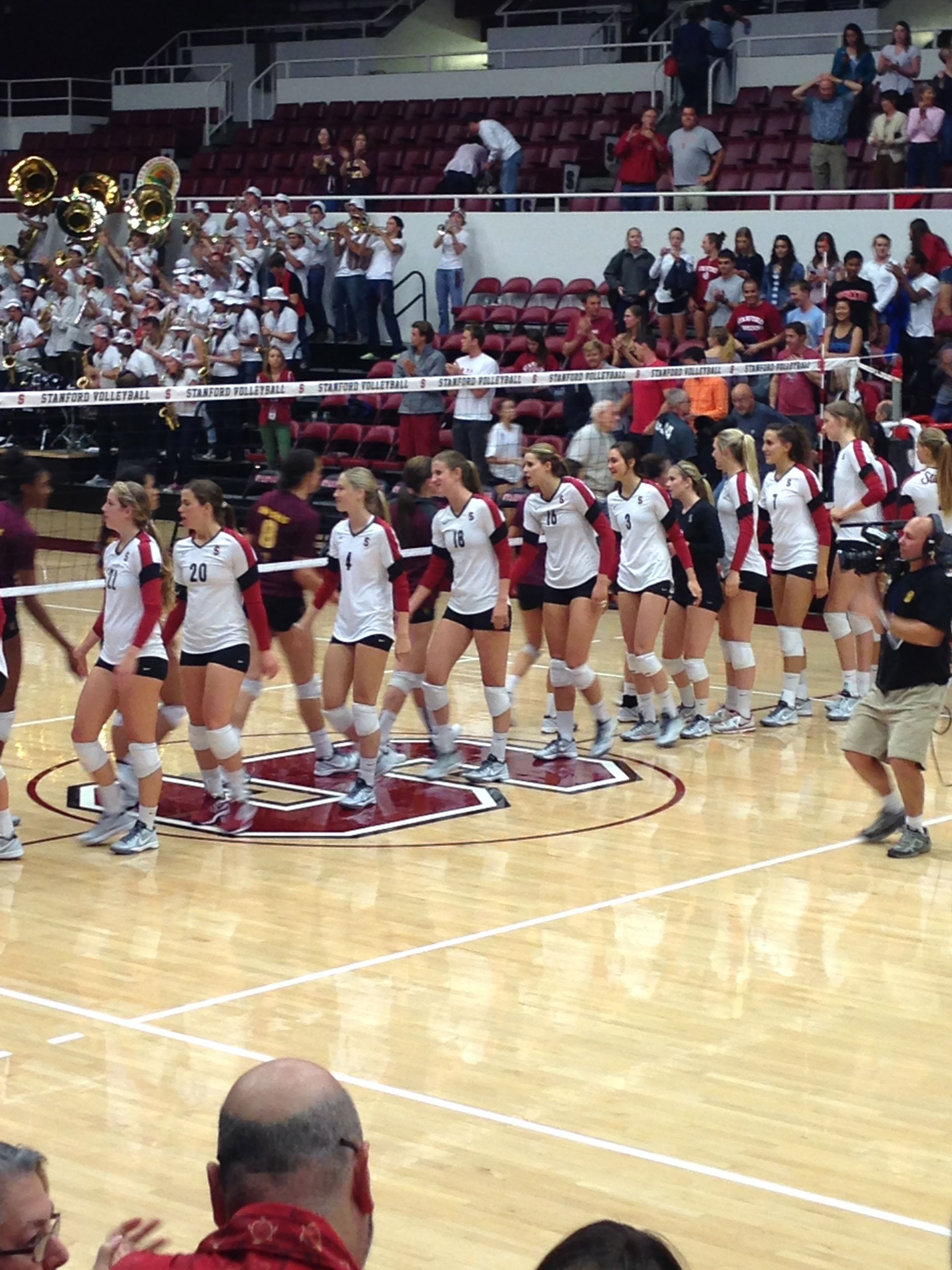 Stanford Women S Volleyball After A Win Over Arizona State Women Volleyball Gym Girls Volleyball