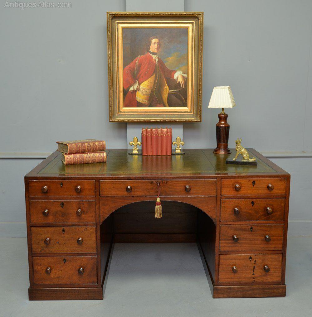 Superb Regency Mahogany Caddy Top Pedestal Desk Pedestal Desk