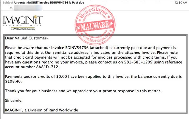 Image Has Been Sent by Evernoteu0027 Malware Email Email purporting - email invoices