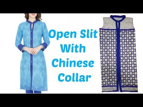 a5bc016a9 How To Cut And Stitch Open Slit Kurti With Chinese Collar - YouTube Chudi Neck  Designs