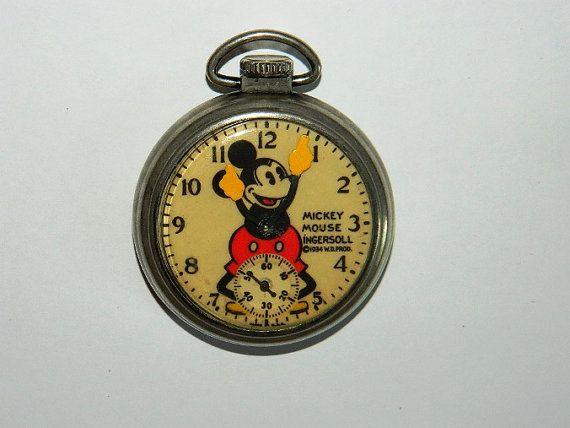 1934 Mickey Mouse Ingersoll Pocket Watch WORKS by 1sellerofpurple