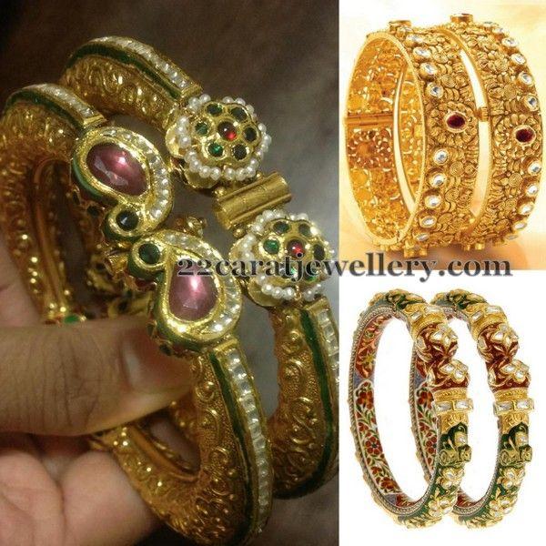 d51ba2e0ad29a Antique Meena Work Bangles | Gold bangles | Bangles, Jewelry, Gold ...