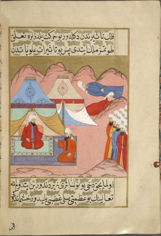 Abd Allh Ibn Kharis Talks To The King Of Yemen In A Camp Discussing Meaning Great Storm That Struck Medina
