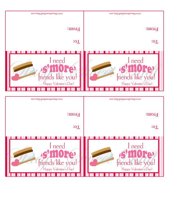 Smore Valentine Bag Topper DIY Printable By StacysSweetStuff