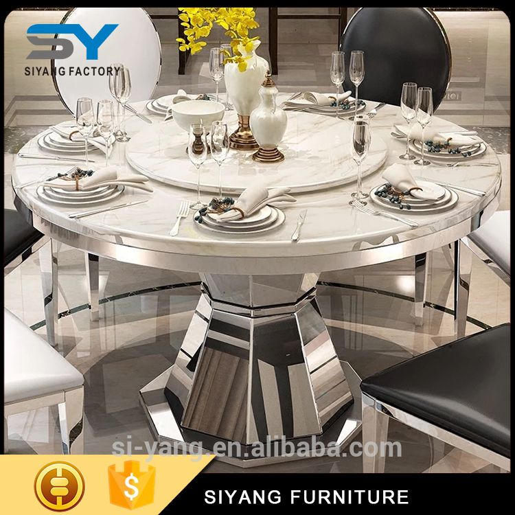 2017 Round Marble Top Stainless Steel Frame Dinner Table And Mesmerizing Sale Dining Room Chairs Decorating Design